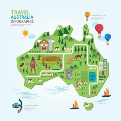 Naklejka Podróże infografika i punkt australia mapa kształt szablonu des