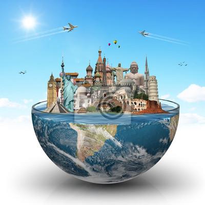 Naklejka Podróże koncepcji pomniki świata