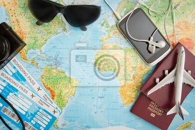 Naklejka Podróże służbowe podróże mapie świata koncepcji.