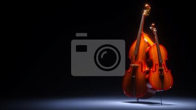Naklejka Podwójny bas i wiolonczelę w ciemnym studio 3D renderowania