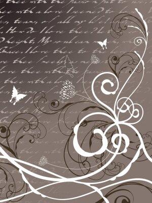 Naklejka Poezja kwiatów motyl wirowa