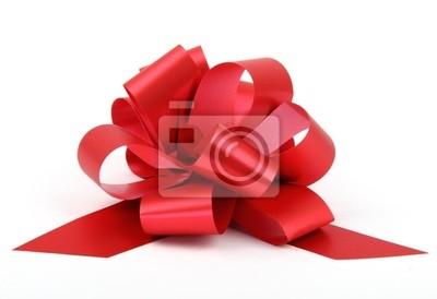 Naklejka Pojedyncze czerwona wstążka dar łuk z tworzywa sztucznego samodzielnie na białym tle.