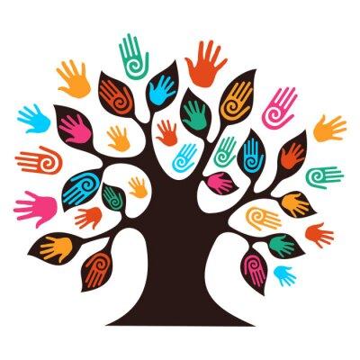 Naklejka Pojedyncze drzewo różnorodność ręce