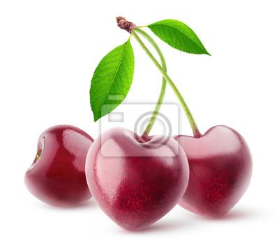 Naklejka Pojedyncze jagody. Para kierowe kształtne czereśniowe owoc na trzonie odizolowywającym na białym tle z ścinek ścieżką