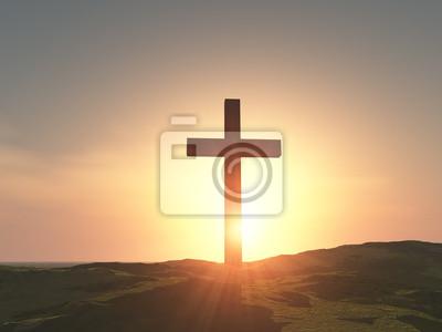 Naklejka Pojedynczy drewniany krzyż
