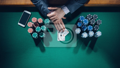 Poker player with smartphone