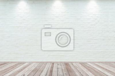 Naklejka Pokoju wnętrza rocznik z białym ściana z cegieł i drewna podłoga