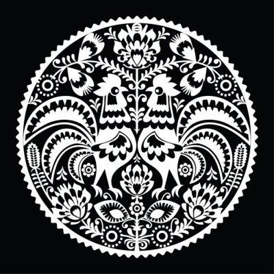 Naklejka Polish folk art pattern with roosters - wzory lowickie