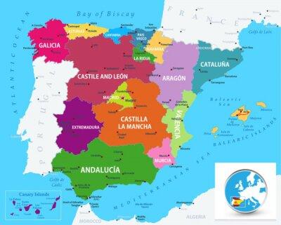Naklejka Political map of Spain