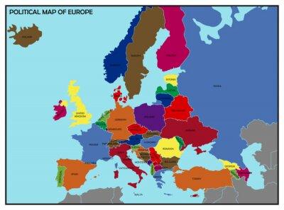 Naklejka Polityczna mapa Europy