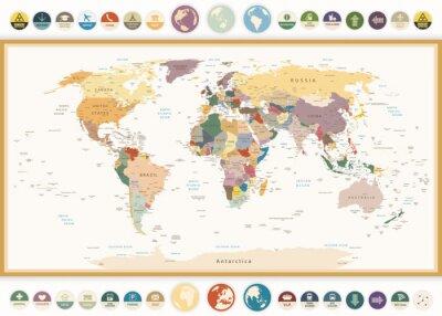 Naklejka Polityczna mapa świata z płaskich ikon i globes.Vintage kolorach.