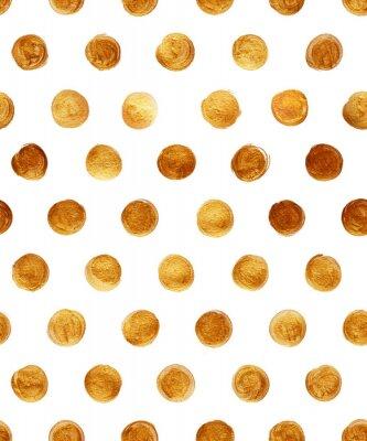 Naklejka Polka dot foliowe złota Jednolite wzór Farba Stain Streszczenie