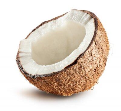 Naklejka połowa z kokosa na białym tle