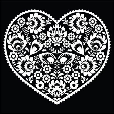 Naklejka Polska sztuka ludowa sercem biały wzór na czarno - Wzory łowickie