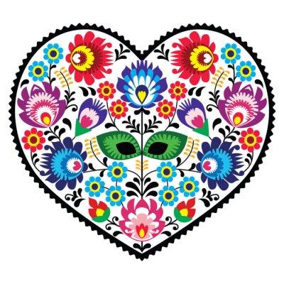 Naklejka Polska sztuka ludowa sztuka serce z kwiatów - Wzory łowickie