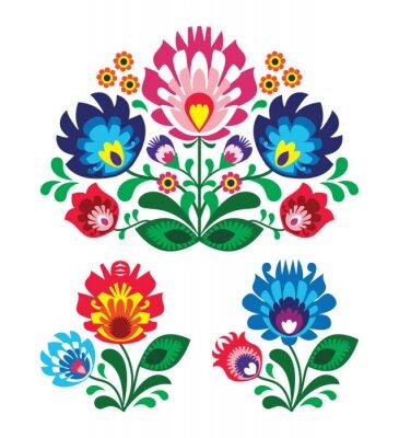 Naklejka Polski kwiatowy wzór haft ludowy