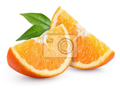 Naklejka Pomarańcza. Plastry z liśćmi samodzielnie na białym tle.