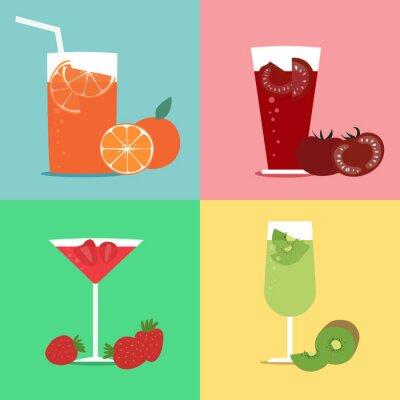 Naklejka Pomarańcza, pomidor, sok z kiwi i truskawek