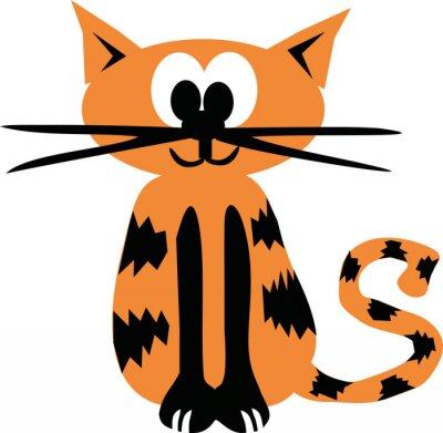 Naklejka Pomarańczowy cartoon tiger cat