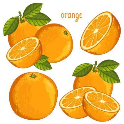 Naklejka Pomarańczowy Izolowane, wektor.