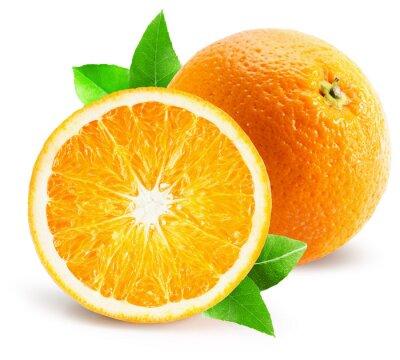Naklejka pomarańczowy z połowy pomarańczy samodzielnie na białym tle