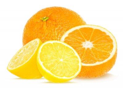 Naklejka pomarańczy i cytryny izolowane