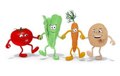 Naklejka pomidor, sałata, marchew i ziemniaka ręka w rękę