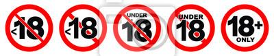 Naklejka Poniżej 18 niedozwolony znak. Numer osiemnaście w czerwonym skrzyżowane koło.