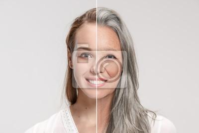 Naklejka Porównanie. Portret pięknej kobiety z problemem i czystą skórę, starzenie się i koncepcja młodości, zabiegi kosmetyczne i lifting. Przed i po koncepcji. Młodość, starość. Proces starzenia się i odmład