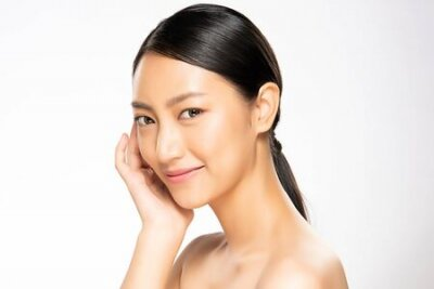 Naklejka Portrait beautiful young asian woman clean fresh bare skin concept. Asian girl beauty face skincare and health wellness, Facial treatment, Perfect skin, Natural make up, on white background.