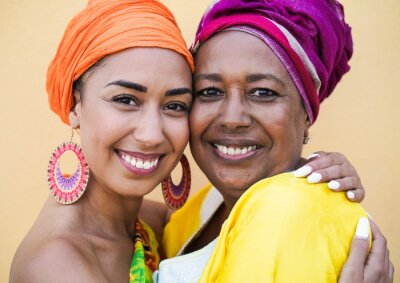 Naklejka Portrait of happy african mother and daughter - Family, mother and adult child love - Women with traditional dress
