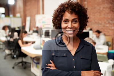 Naklejka Portrait Of Mature Businesswoman In Open Plan Office With Business Team Working In Background