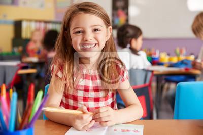 Naklejka Portrait Of Smiling Female Elementary School Pupil Working At Desk