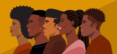Naklejka Portrait of Young African American Hairstyles. Vector