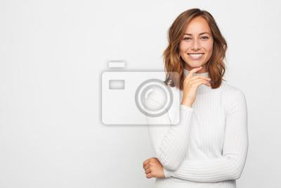 Naklejka portrait of young happy woman