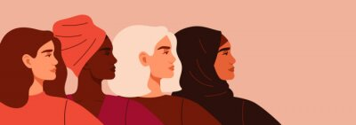 Naklejka Portraits of Four women of different nationalities and cultures standing together. The concept of gender equality and of the female empowerment movement.