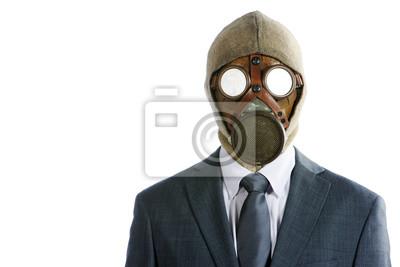 Portret biznesmen w masce gazowej