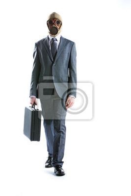 Naklejka Portret biznesmen w masce gazowej z walizką