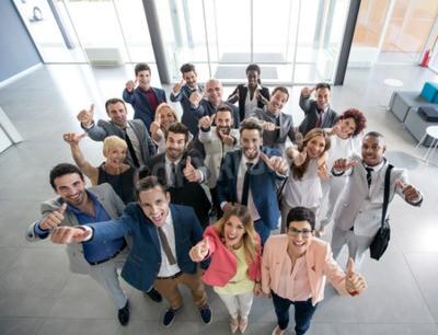 Naklejka Portret kciuk uśmiechniętych ludzi biznesu