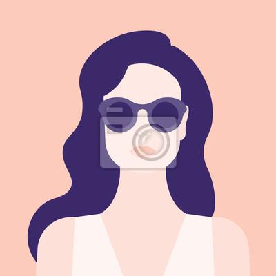 Naklejka Portret kobiety. Głowa dziewczyny. Awatara. Minimalistyczny. Mieszkanie. Ilustracji wektorowych