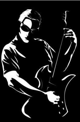 Naklejka Portret młodego mężczyzny z gitarą