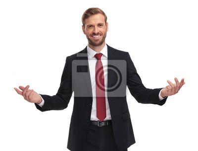 Naklejka portret przystojny biznesmen uśmiechając się i zapraszając gest