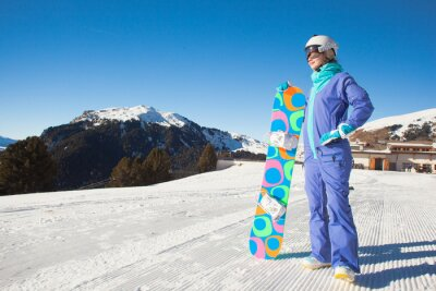 Naklejka portret snowboarder na szczycie Alp Dolomiti
