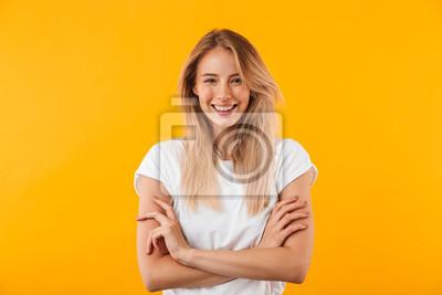 Naklejka Portret uśmiechnięta blondynki młoda kobieta