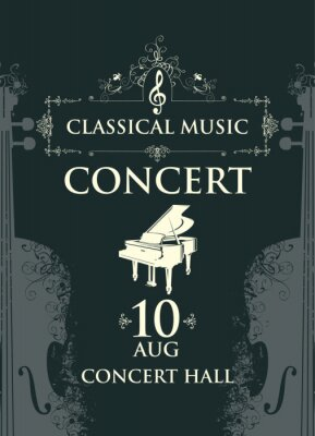 Naklejka Poster for a classical music concert in vintage style. Vector advertising banner, billboard, flyer, invitation or ticket with grand piano and abstract violins on the black background