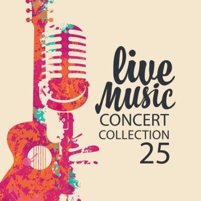Naklejka Poster for a live music concert with a bright abstract guitar, microphone and lettering on a light background in retro style. Suitable for vector banner, flyer, invitation, ticket, advertisement