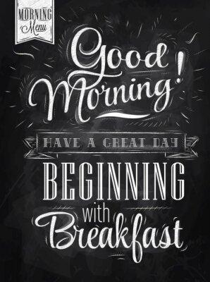 Naklejka Poster Good morning! Śniadanie kreda
