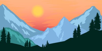 Poster template with wild mountains landscape.
