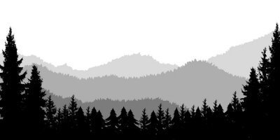 Poster template with wild mountains landscape. Design element for banner, flyer, card.