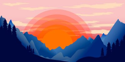 Poster template with wild mountains landscape. Vector illustration
